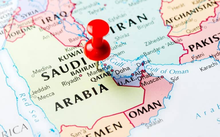 red pin in map of Saudi Arabia and surrounding countries