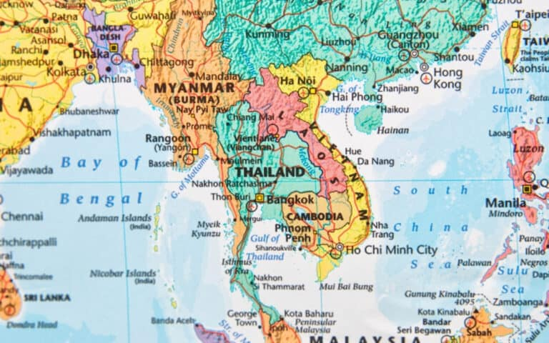 map of thailand with china