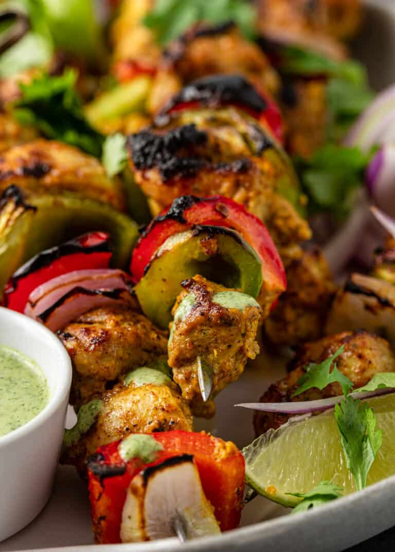 close up of indian chicken tikka kababs