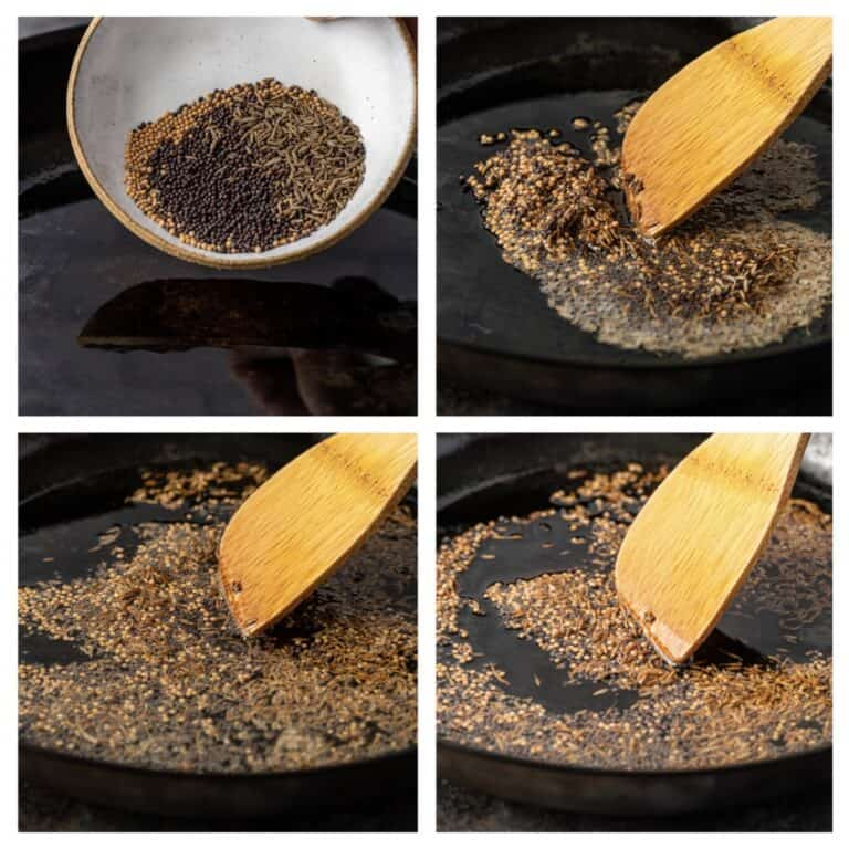 photo collage: making tadka for dal curry