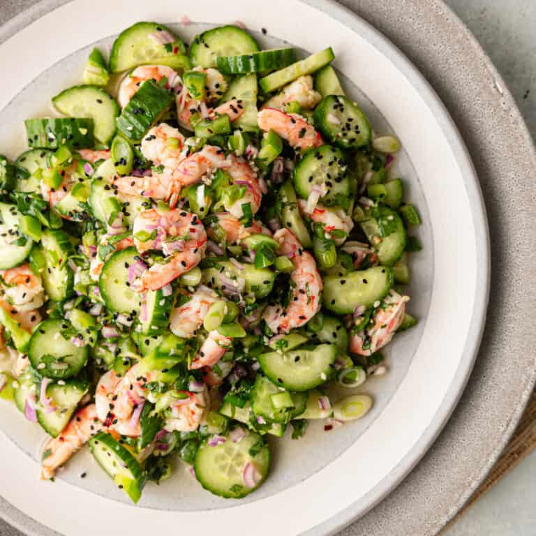 plate of japanese sunomono salad with cucumbers and shrimp