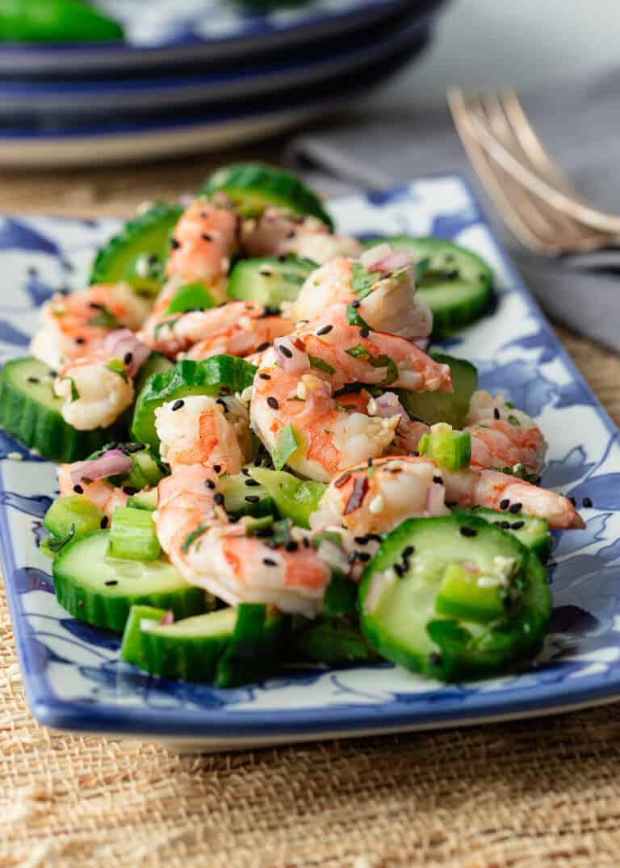 plate of seafood sunomono