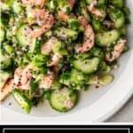 titled image shows japanese shrimp cucumber salad