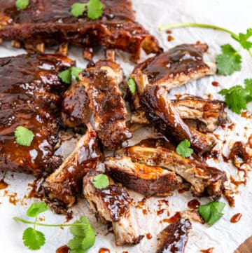 messy pile of sticky sweet and sour ribs