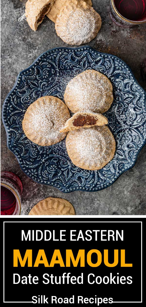 titled image shows date-filled semolina cookies on small blue plate