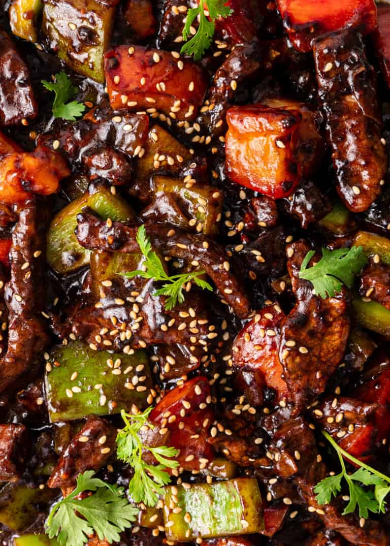 overhead: Chinese pepper steak garnished with white sesame seeds