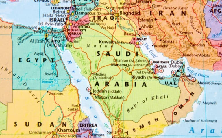 map of Egypt and Middle East