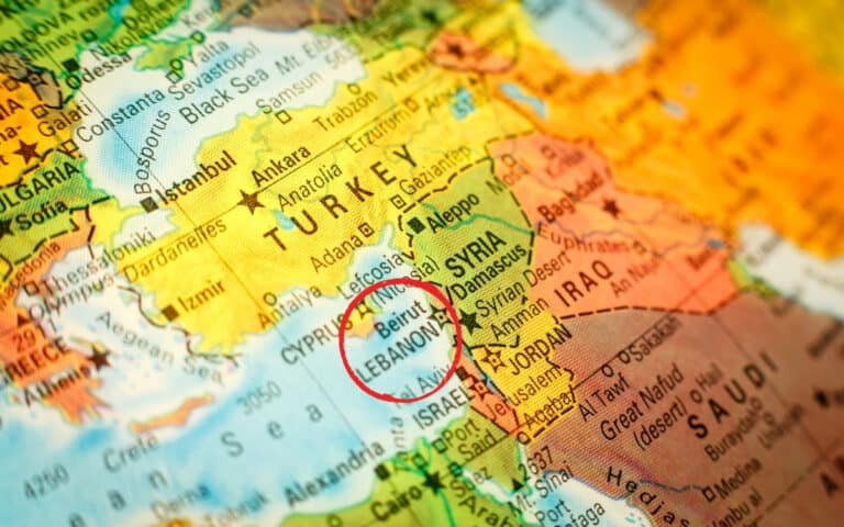 lebanon circled on map of middle east
