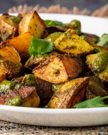 close up of lebanese potatoes side dish: batata harra