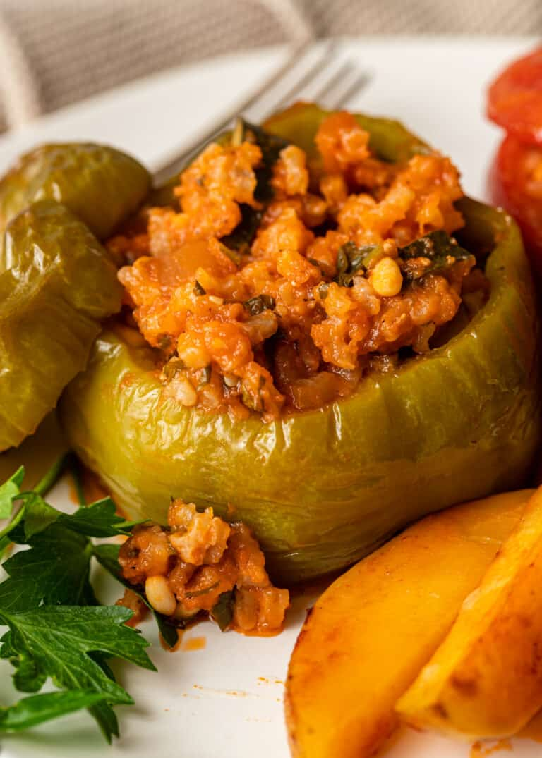 close up of greek stuffed peppers