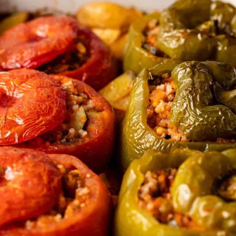 close up image of greek dish, yemista