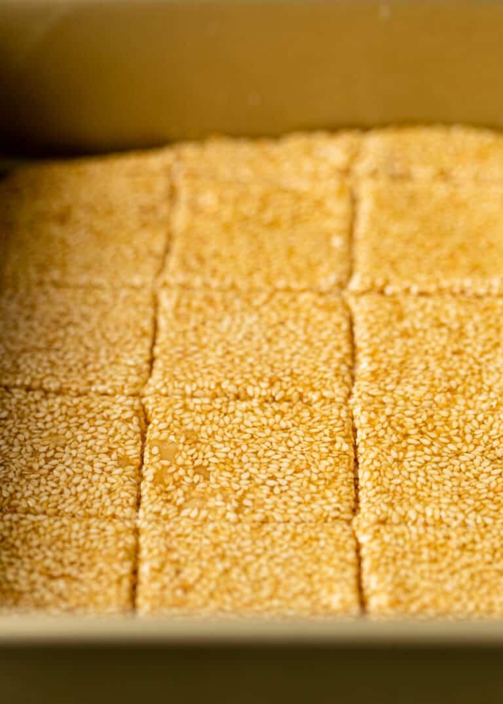 closeup: homemade candy cut into squares
