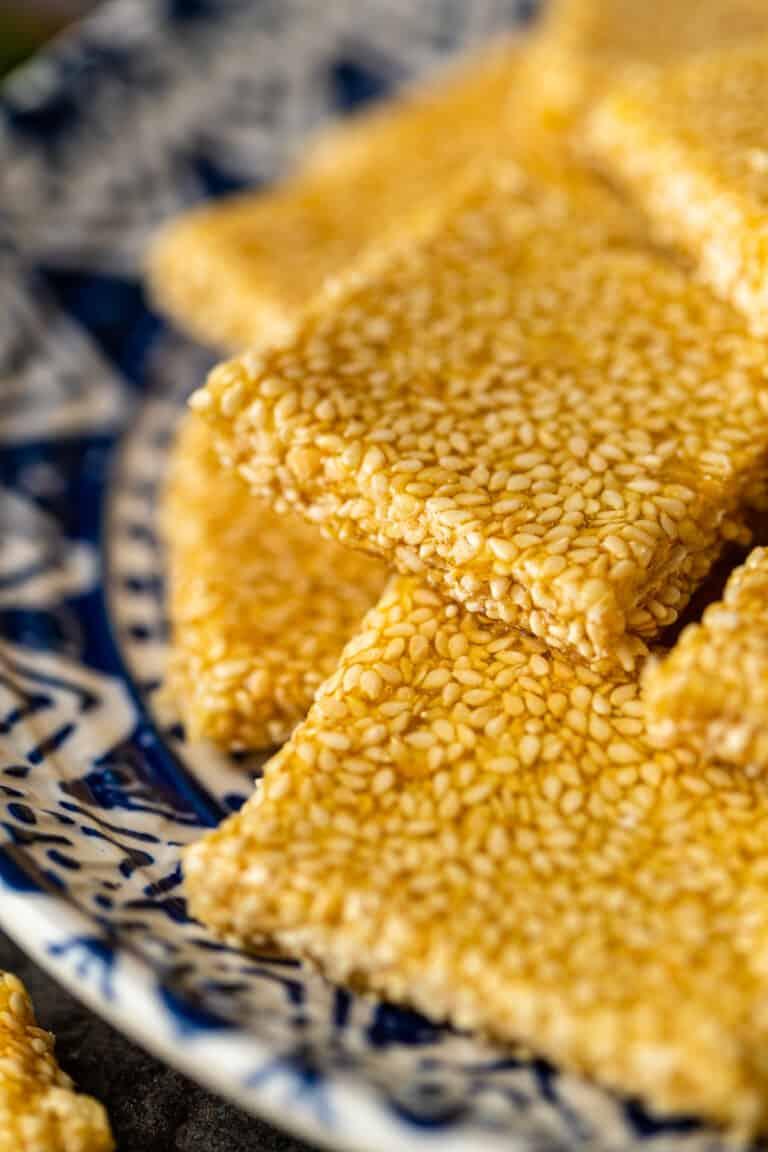 close up: squares of sesame brittle