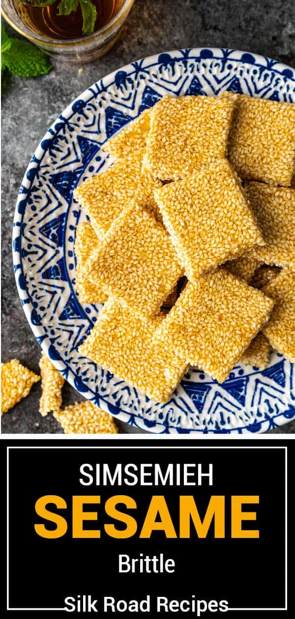titled image shows bars of sesame seed candy on blue and white plate